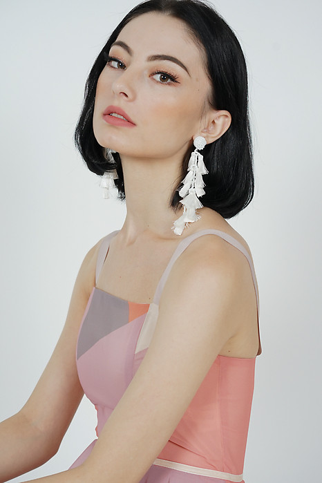 Ina Tassel Earrings in White -  Arriving Soon