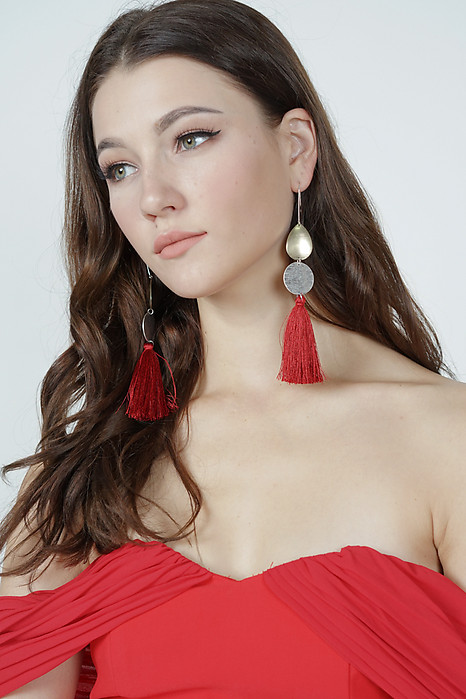 Long Tassel Earrings in Scarlet  - Arriving Soon