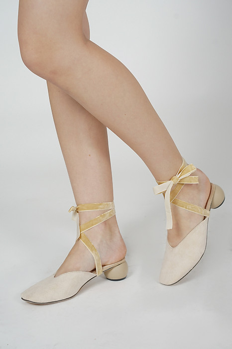 Eli Lace-up Mules in Nude - Arriving Soon