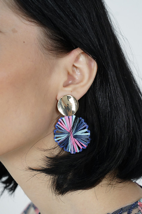 Vola Earrings in Blue Stripes -  Arriving Soon