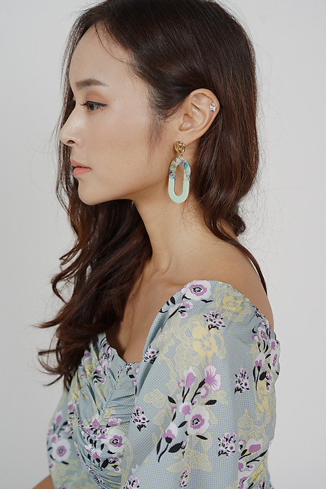 Deux Contrast Earrings in Mint - Arriving Soon