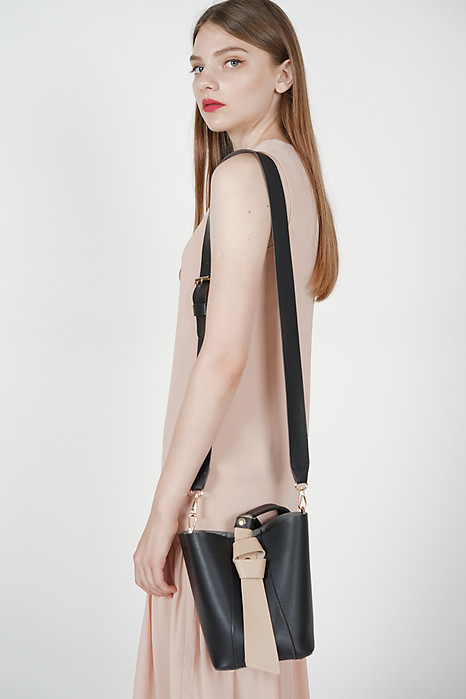 Contrast Handle Shoulder Bag in Black - Arriving Soon