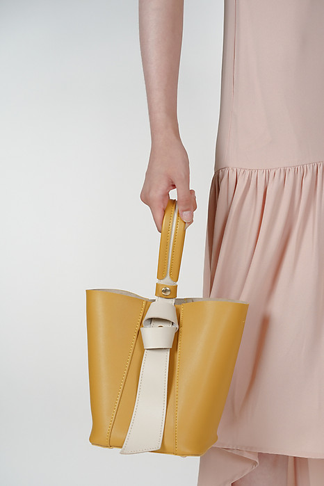 Contrast Handle Shoulder Bag in Yellow - Arriving Soon