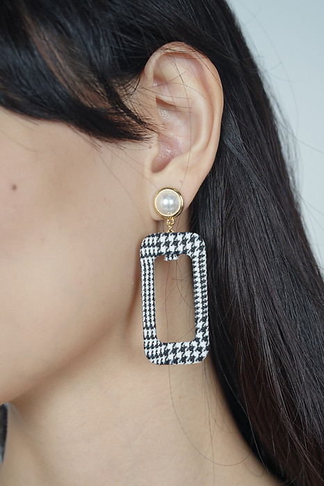 Twiggy Pearl Stud Houndstooth Earrings  - Arriving Soon