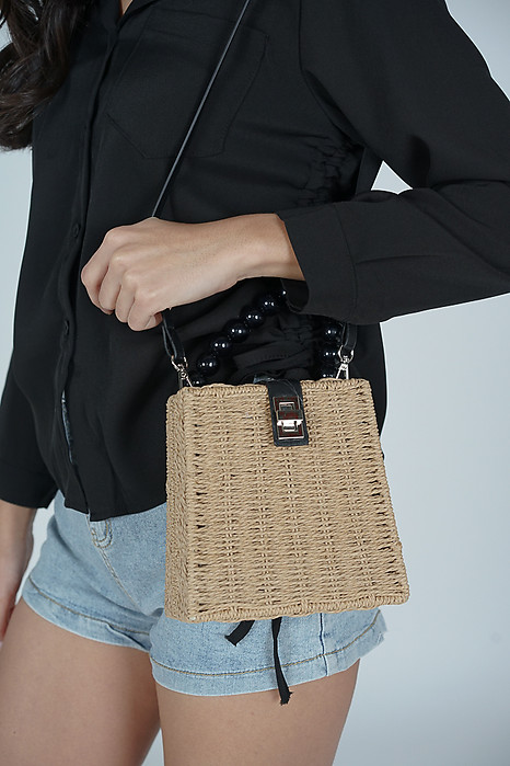 Yulia Straw Bag in Khaki - Arriving Soon