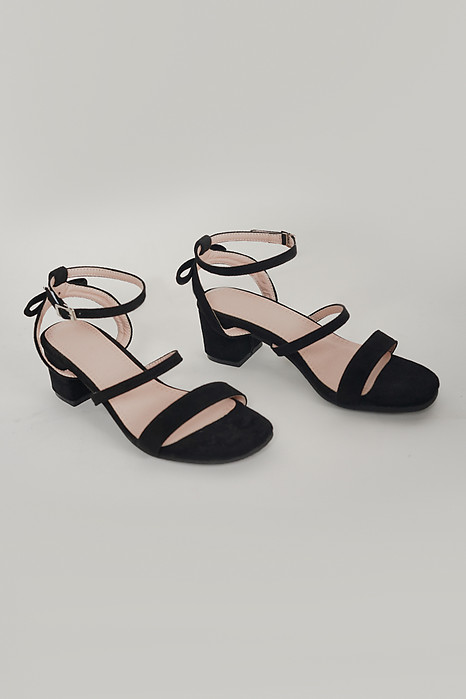 Duo Strap Block Heel in Black - Arriving Soon