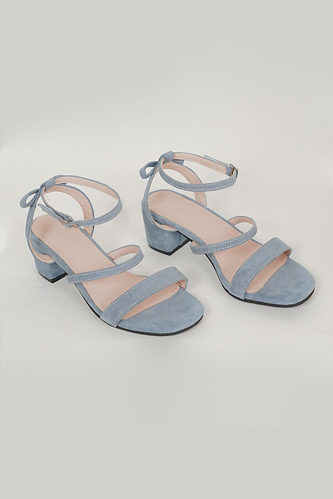 Duo Strap Block Heel in Blue - Arriving Soon