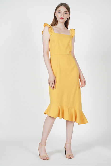 Frilly Strapped Dress in Mustard