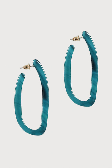 Oval Hoop Earrings in Turquoise - Arriving Soon