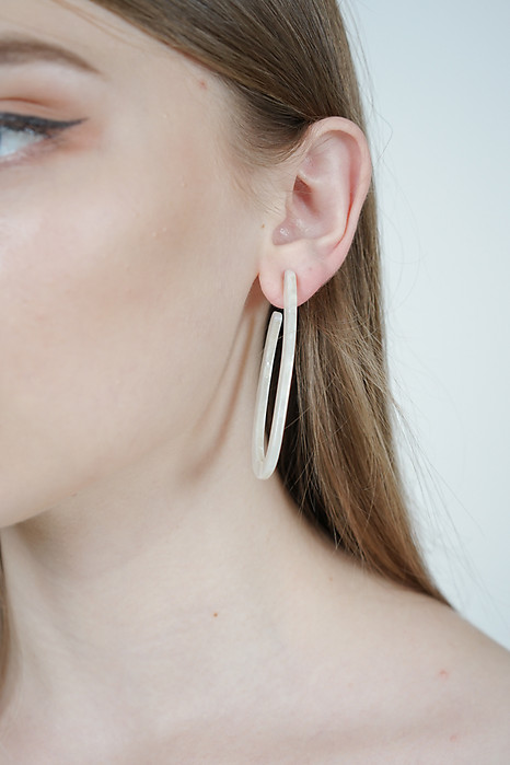 Oval Hoop Earrings in White - Arriving Soon