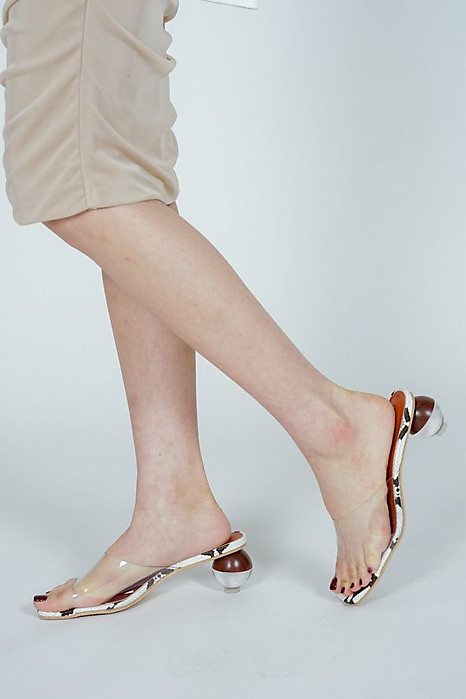 Riley Sphere-Heeled Mules in Snakeskin - Arriving Soon