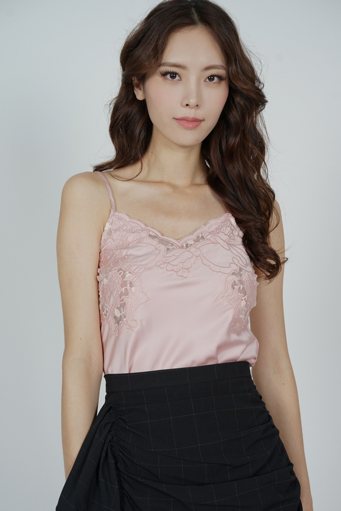 Tosha Lace Cami Top in Pink