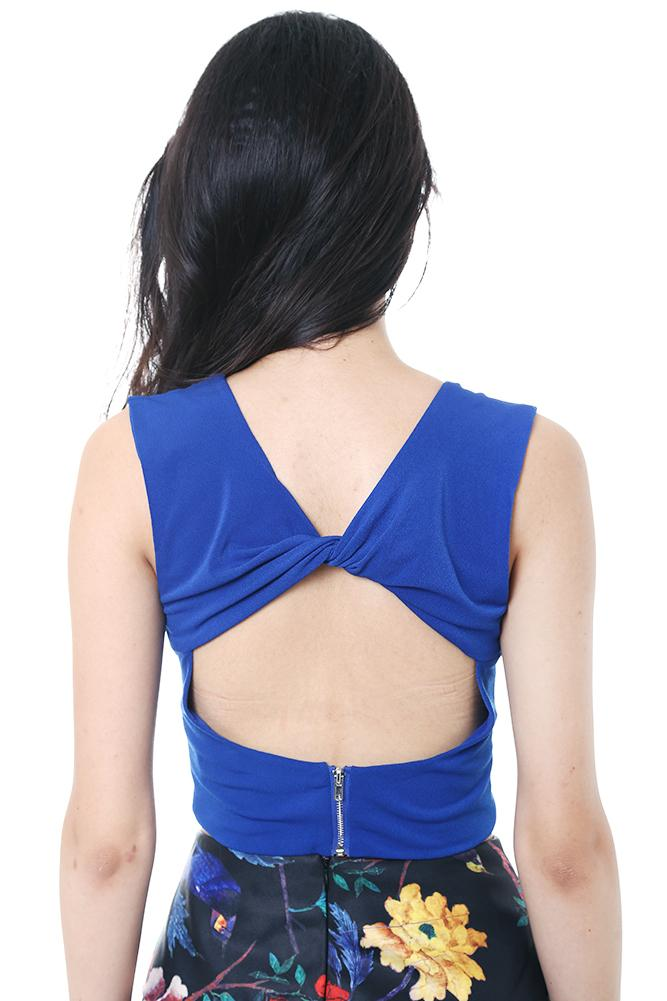 High Neck Cropped Top in Blue