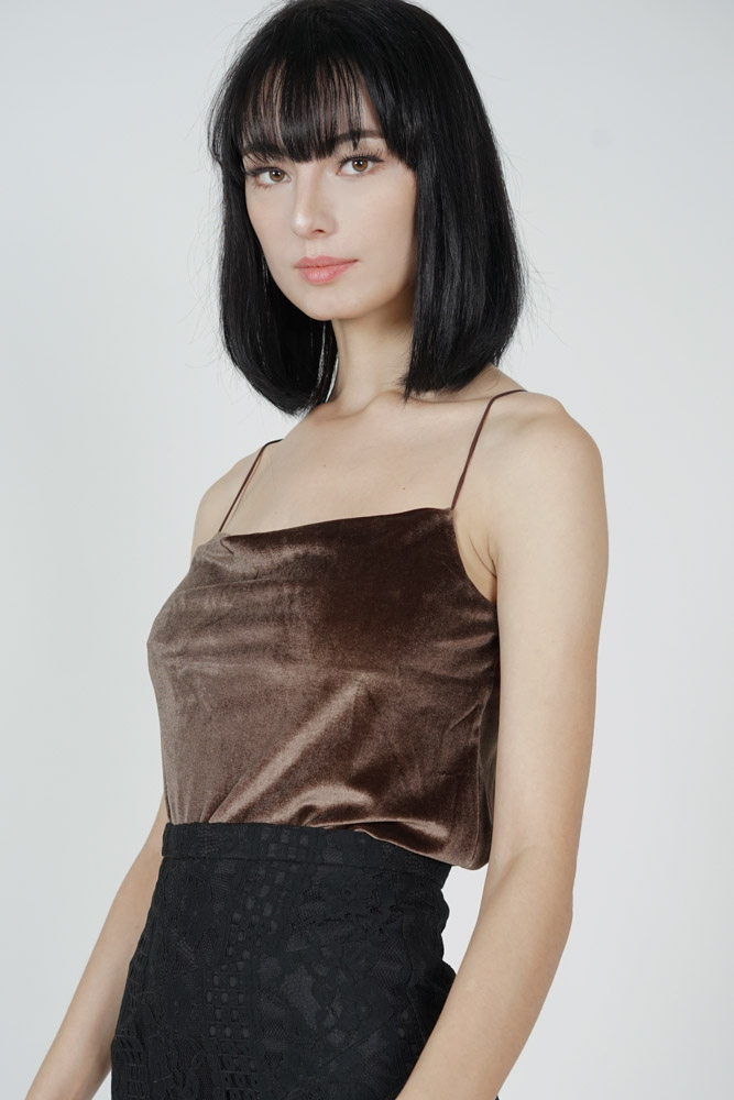 Biko Cami Top in Cocoa - Arriving Soon