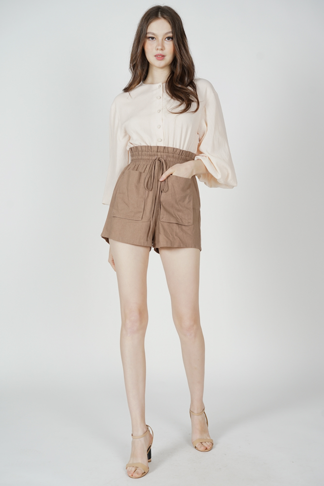 Austin Drawstring Romper in Cream - Arriving Soon