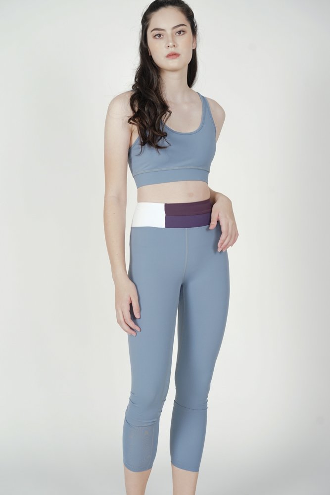 Wilren Contrast Gym Tights in Ash Blue - Arriving Soon