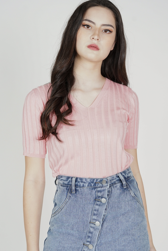 Zack Sleeved Top in Peach - Online Exclusive