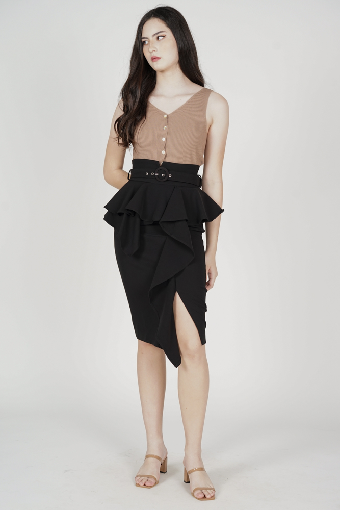 Edan Peplum Skirt in Black - Arriving Soon
