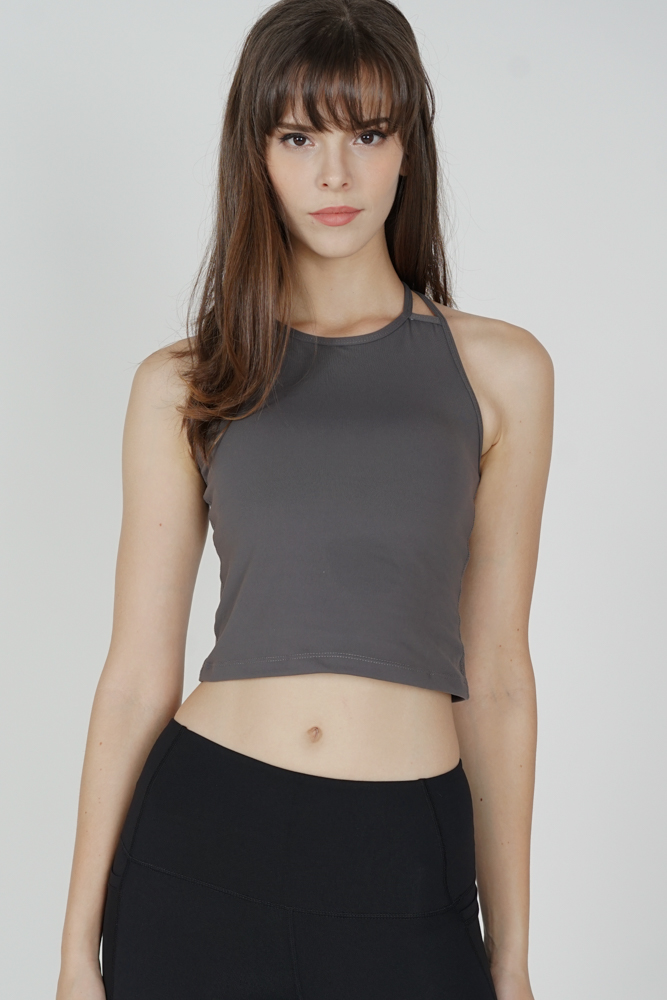 Likah Asymmetric Strappy Padded Top in Dark Grey - Arriving Soon