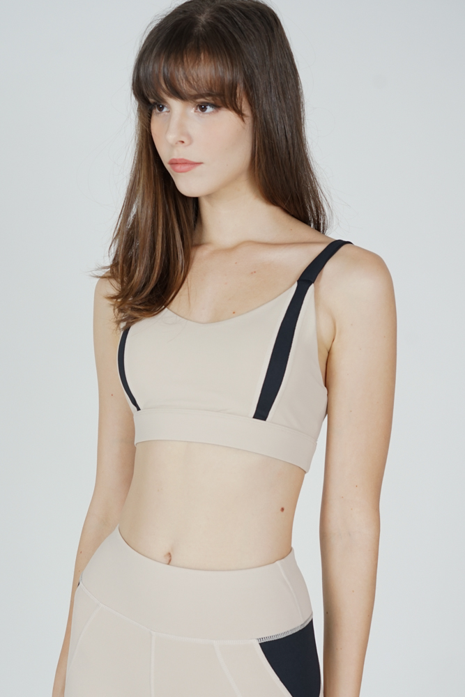 Gabien Contrast Padded Top in Cream - Arriving Soon