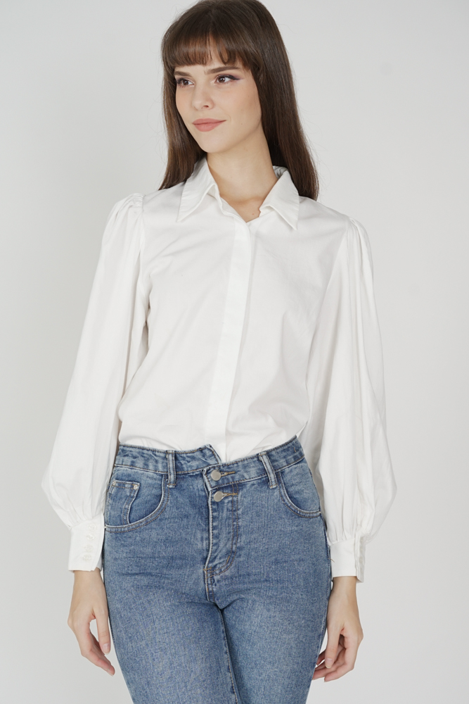 Miken Collared Top in White - Arriving Soon
