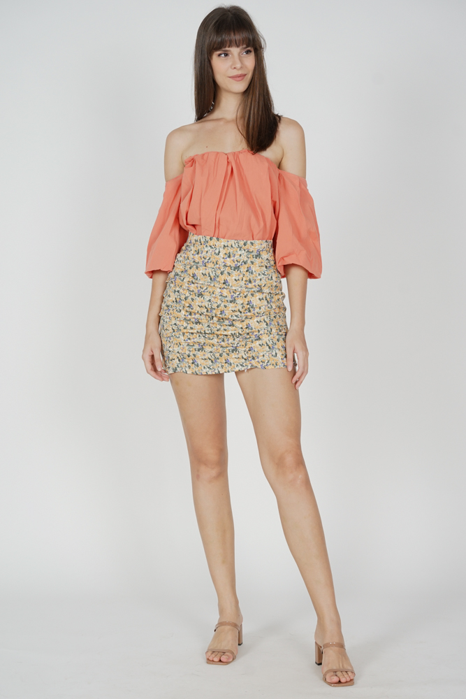 Bazzy Flared Top in Coral - Online Exclusive