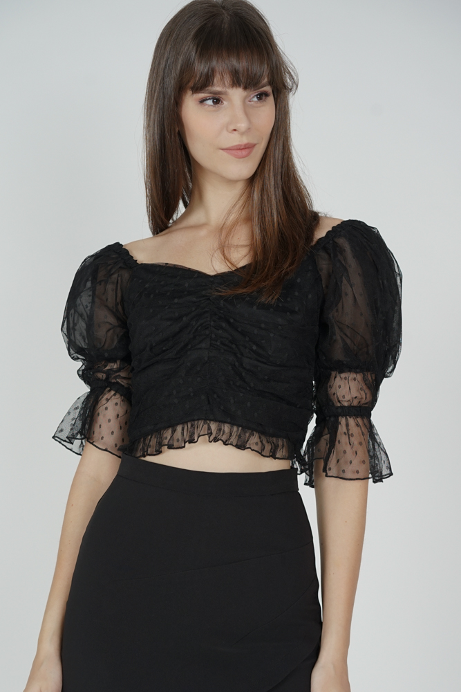 Malonie Puffy Top in Black - Arriving Soon