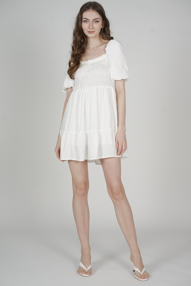 Chester Gathered Dress in White - Online Exclusive