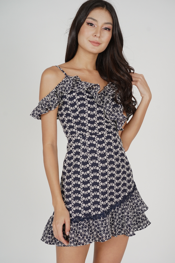 Frill Cami Dress in Midnight Embroidery