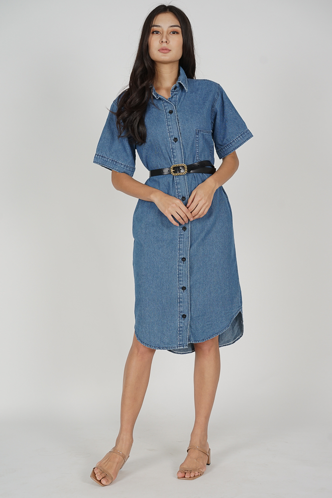 Tylie Denim Dress in Dark Blue - Online Exclusive