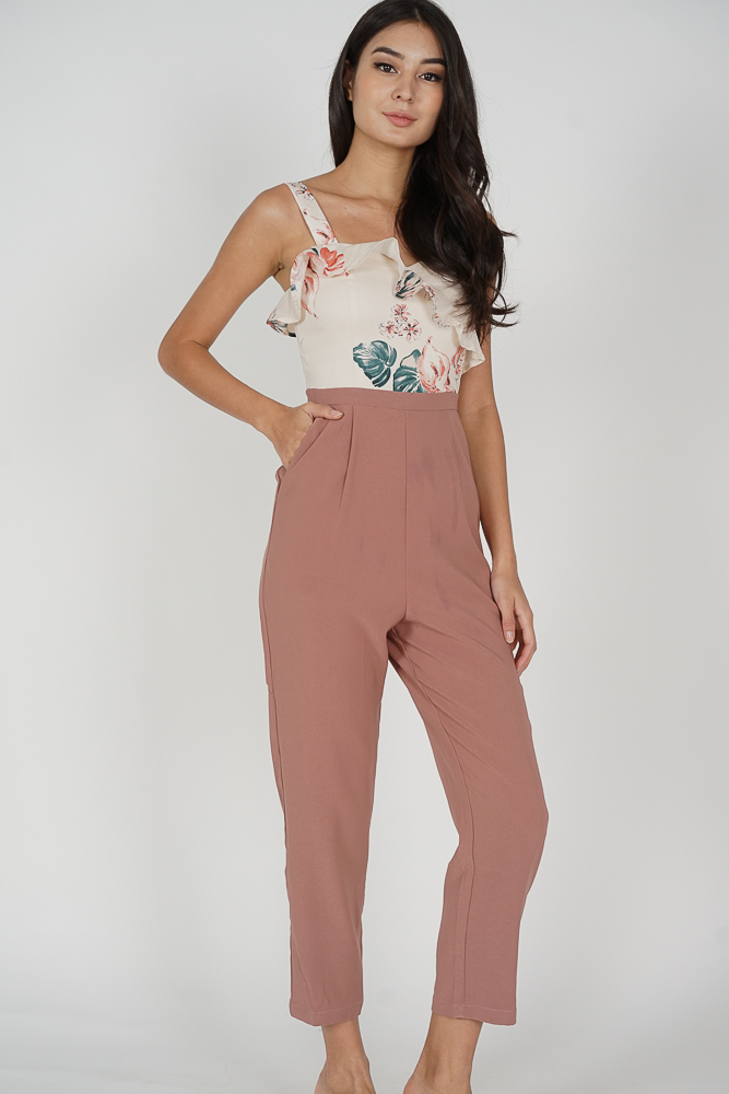 Nadya Ruffled Jumpsuit in White Pink Floral - Arriving Soon
