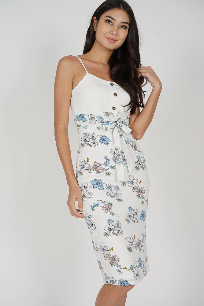 Daviel Midi Dress in White Floral - Arriving Soon