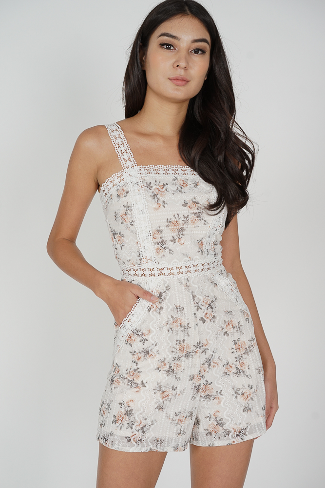 Etta Crochet Romper in White