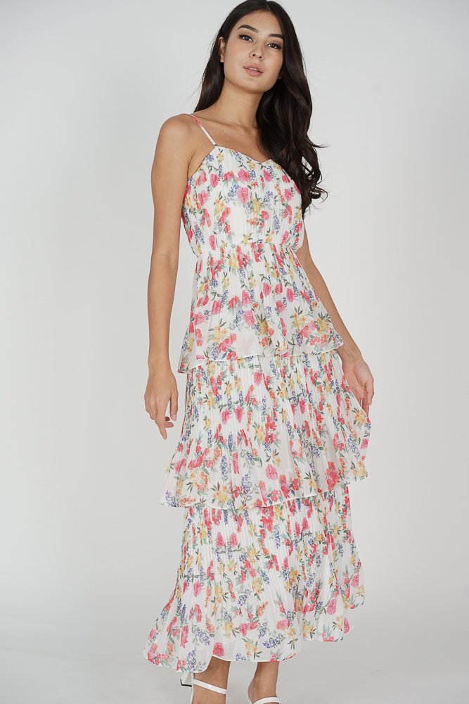 Raya Tiered Dress in White Floral