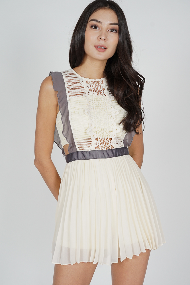 Beria Pleated Skorts Romper in Cream - Arriving Soon