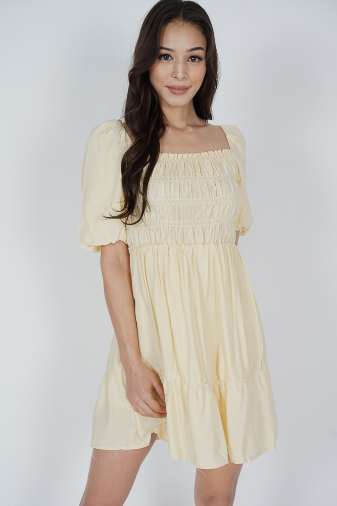 Chester Gathered Dress in Yellow - Online Exclusive