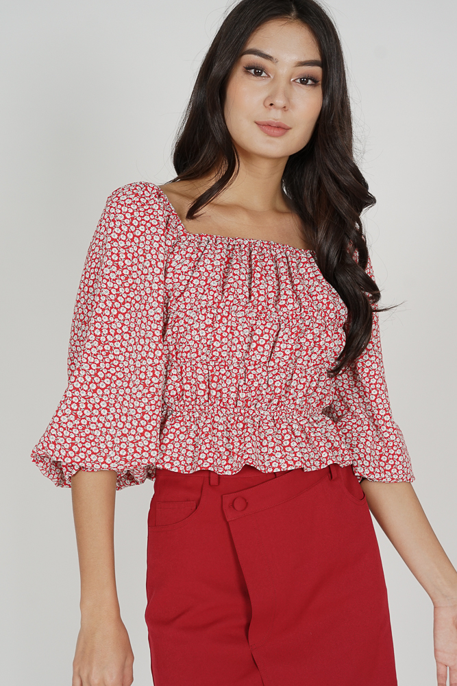 Kyoka Puffy Top in Red - Arriving Soon