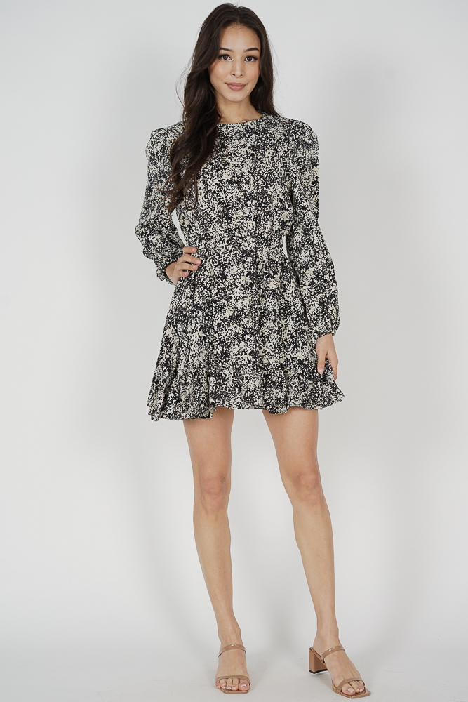 Marlow Sleeved Dress in Black - Online Exclusive