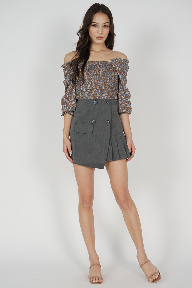 Aina Buttoned Skorts in Grey - Online Exclusive