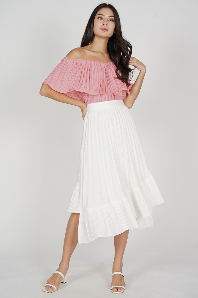 Holden Asymmetrical Pleated Skirt in White
