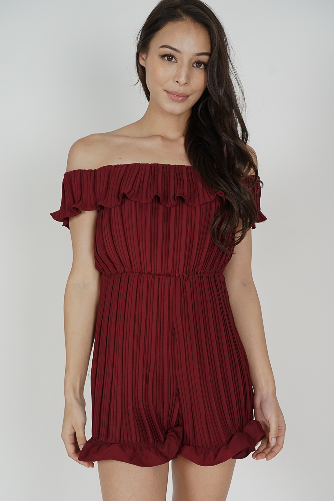 Alven Ruffled Romper in Oxblood - Arriving Soon