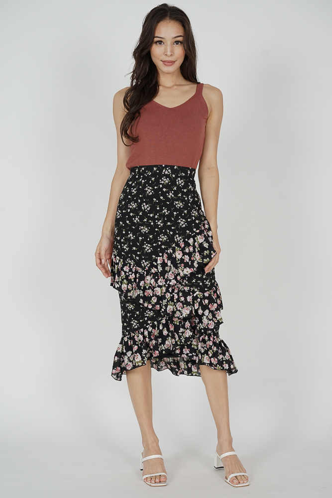 Sabrena Ruffled Skirt in Black Floral