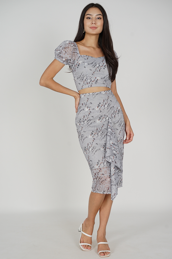 Dofia Lace Skirt in Ash Blue Floral - Arriving Soon