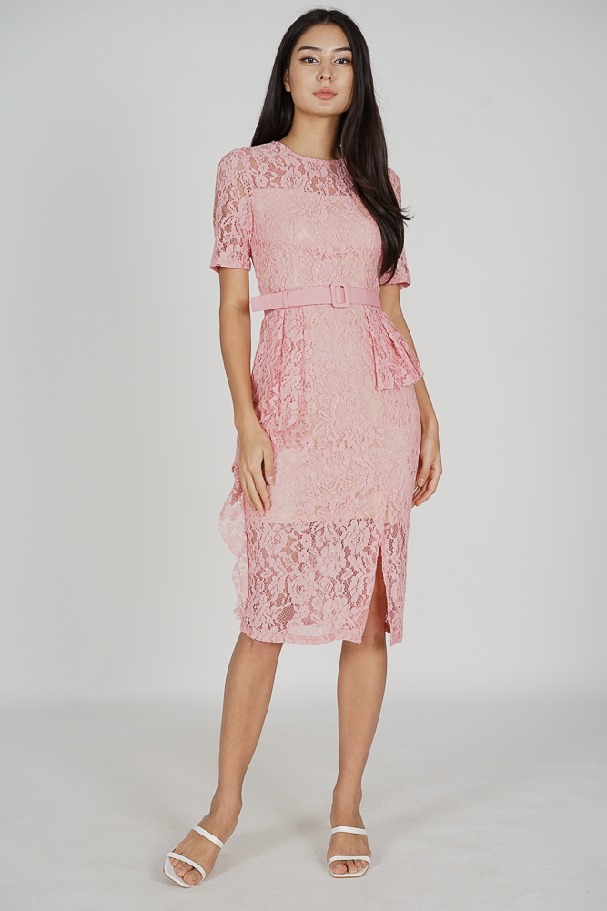 Olesha Lace Dress in Pink - Arriving Soon