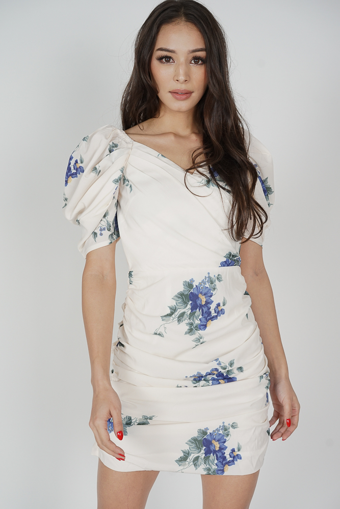 Yuka Ruched Dress in White Floral - Arriving Soon