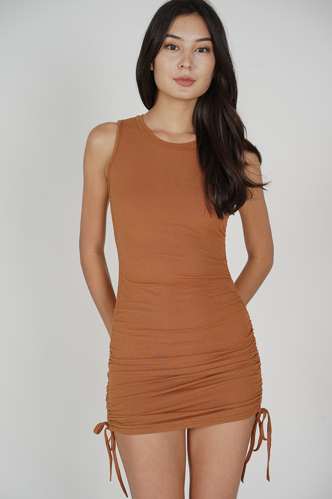 Ellie Ruched Dress in Cocoa - Online Exclusive