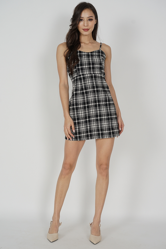 Hyuki Checkered Dress in Black - Online Exclusive