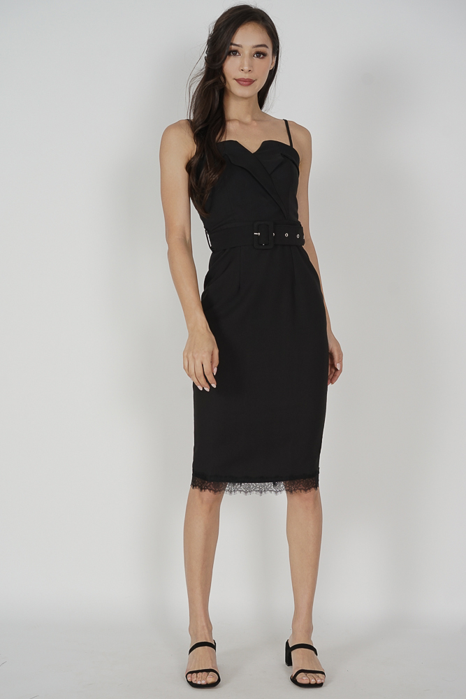 Toris Buckled Midi Dress in Black - Arriving Soon