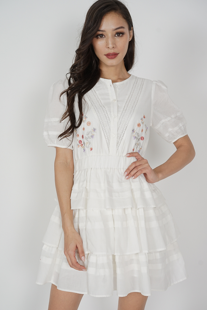 Casalyn Buttoned Dress in White - Arriving Soon