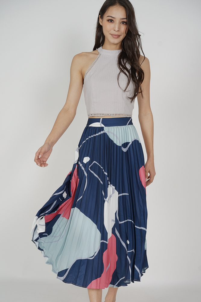 Zayne Pleated Skirt in Blue Abstract - Arriving Soon
